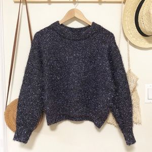 H&M purple sparkly holiday crewneck sweater small